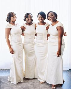 Bridemaids dressed in all white. Wedding day inspiration for the fashion forward bridesmaid.  #bridesmaids #white #wedding #2bridesphotographyhttps://www.instagram.com/p/BeivEyDg8Lt/?taken-by=2brides