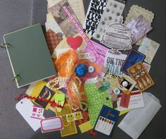 Junk Journal, Art Journal, Travel Journal-comes with a bag of over 50 bits and bobs for embellishment