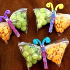 Cute way to present snack and an option for the kids to decorate a pre-painted clothes pin.