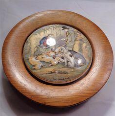 Antique Prattware Pot Lid The Game Bag Oak Framed Pheasants Rabbits Hunters 1880