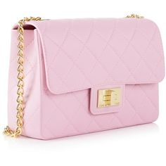 Design Inverso Milano Quilted Bag ($150) ❤ liked on Polyvore featuring bags, handbags, shoulder bags, purses, chain shoulder bag, pink handbags, pvc handbags, quilted purse and chain strap purse