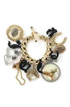 Free shipping and returns on Juicy Couture Equestrian Charm Bracelet at Nordstrom.com. Detailed horse-themed charms with toggle closure. Largest charm reads 'Tally Ho! I'm off to the rodeo' on reverse.