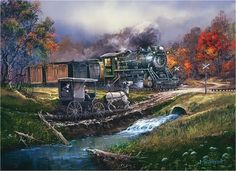Amish buggy waiting for the train painting
