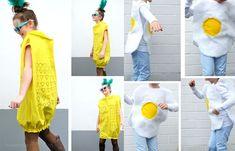 DIY Karnevalskostüme: Ananas und Spiegelei   #karneval #fasching #kostüm #DIY waseigenes.com Halloween Kostüm, Halloween Costumes, Punk, Carnival, Summer Dresses, Recipes, Pineapple, Red Tulle Skirt, White Shirts