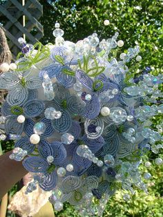 Beaded wedding bouquet french beaded flowers crystal beads brooch bouquet lavender ivory flowers dress
