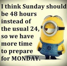 Sunday Should Be 48 Hours Instead Of The Usual 24 minion minions sunday sunday quotes happy sunday minion quotes funny sunday quotes funny minion quotes minion quotes and sayings Sunday Humor, Sunday Quotes Funny, Funny Quotes, Funny Sunday, Hate Monday Quotes, Monday Sayings, Monday Morning Humor, Monday Memes, Happy Sunday