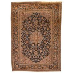 Antique 1960's Persian Hand-knotted Mashad Navy/ Ivory Wool Rug (9'9 x 12'7)