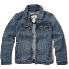 Hollister Rinse Wash Denim Jacket ($70) ❤ liked on Polyvore featuring men's fashion, men's clothing, men's outerwear, men's jackets and medium wash