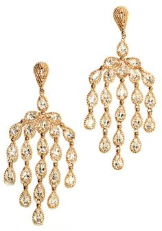 """Amorim Clear Topaz Chandelier Earrings - Five rows of sparkling pear shaped clear topaz stones set in rose gold braids cascade 2-3/4"""" to create a dramatic look. These Brazilian earrings are designed by Carla Amorim and feature posts and jumbo push backs."""