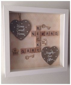 Scrabble Tile Crafts, Scrabble Frame, Scrabble Art, Scrabble Ornaments, Box Frame Art, Box Frames, Hobbies And Crafts, Crafts To Sell, Homemade Gifts
