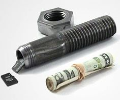 "Hide valuables in plain sight with this secret stash container made from a real hollowed out 3/4"" machine bolt. Great for storing and hiding small items or money in hard to find places, such as in the garage where bolts like this one would be blend in perfectly."