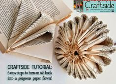 how to make a paper flower from a book #recycledbook #alteredbook #craftside