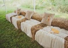 Okay, it is hard to find hay bale seating without it being attached to a wedding theme, but I think hay sectionals/sofas in the backyard around the firepit (within a safe distance) would be cozy for Thanksgiving.  Especially since I will have virtually no seating yet indoors.  Let's hope for some decent weather this year!