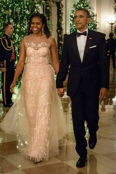 7 December Michelle Obama opted for a fairytale Monique Lhuillier gown to attend the Kennedy Center Honours at the White House with Barack Obama. Getty Images - HarpersBAZAAR.co.uk