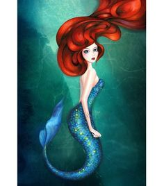 Mermaid Art - Little Mermaid Ariel Fairytale Fantasy Wall Art - Emerald Green Blue - NEW Painting Print by Annya Kai