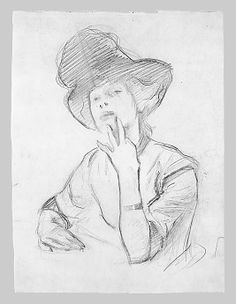 Seated Woman with Hat, 12 13/16 x 9 7/16 Graphite on paper by John Singer Sargent (late 1880's)