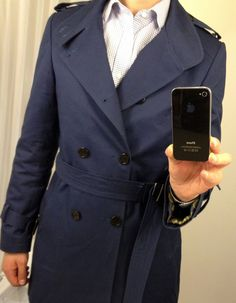 Blue trench for cool and damp autumn months