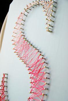 Custom String Art Plaques now in the Etsy shop! String Art Letters, Nail String Art, Diy Letters, Cute Crafts, Diy Crafts, Cute Wall Decor, Thread Art, Craft Club, Creative Art