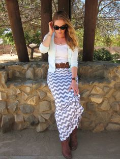 Maxi Skirt, Gray & White Chevron, Women's XS-XL, Petite, Average, Tall Length