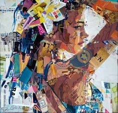 By the painter from New York Derek Gores who is best known for his ripped paper collage portraits, made using recycled magazine pages and other found parts. Gores has become a master at controlling chaos within his artwork