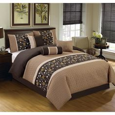 Chinensis Embrodiery Queen Comforter Set - Elight Home a contemporary, unique detailing with textured embroidery and neutral color will make perfect addition for any soothing decor scheme. This 7 piece comforter set quilted and embroi King Size Comforter Sets, King Size Comforters, Bedding Sets, Recamaras King Size, Queen Size, Console, Master Bedroom, Bedroom Decor, Bedroom Ideas