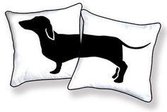 Divertido negro & blanco almohada Dachshund de feliz caliente perro colección