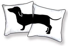 AMUSING BLACK and WHITE DACHSHUND PILLOW FROM HAPPY HOT DOG COLLECTION #etsy #bandw #puppies $39.95