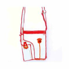 Canvas Bag With Mobile Pouch - Red Border