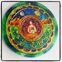 Mandala Tierra, vidrio 15cm