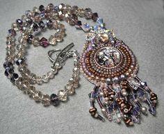Bead Embroidery Necklace  Anastasia  Glass by beadedjewelrydiva