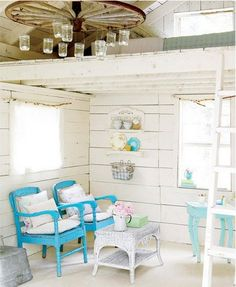 painted wide plank boards and pops of color