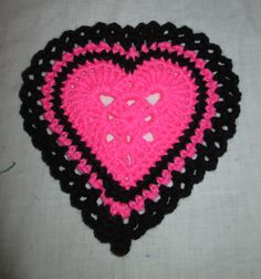 Crochet Valentines Day Potholder $10 or 2 for $15 All potholders are double layered with a heat resistant fabric on the back (not shown)