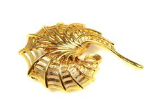 Vintage Monet Abstract Spider Web Brooch Gold Tone