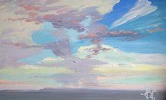 """Summer Skies"" an original oil painting by Steven Pleydell-Pearce 14 x 10 £200 framed http://www.stevepp.co.uk/index.php?showimage=49"