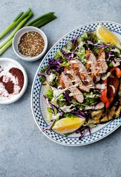 Mediterranean Chicken Salad with Sumac Dressing: this salad is packed with flavor and is topped with tahini dressing.