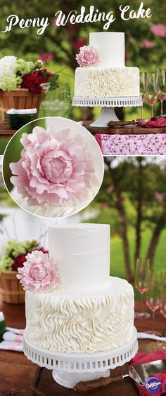 The delicate paper-like petals of the gum paste peony make a beautiful companion for the crepe-like piped buttercream folds on this tiered wedding cake. Make the flower using Wilton Ready-To-Use Gum Paste and the cut-outs. Complete instructions for cutting and assembling the flower are in the Peony Gum Paste Cut-Outs Set.