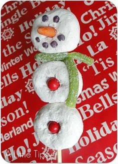 this one has some good comments below on ideas and what did/didn't work for the snowman features lollipop stick fruit rollup scarf candy corn nose or orange wedge candy m&ms mini choc chips