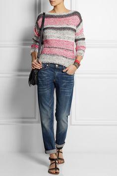 Étoile Isabel Marant|Striped cotton-blend sweater|rag & bone | The Dre cropped mid-rise slim-leg boyfriend jeans | K Jacques St Tropez | Corvette leather sandals | Proenza Schouler | The PS1 Tiny leather satchel