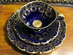Lindner Echt Cobolt Teacup Trio, Tea Cup, Saucer, Plate. Kueps Bavaria, Made in Germany -K
