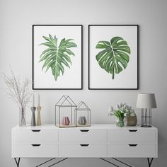 Tropical Home Decor, Tropical Leaves Art Prints