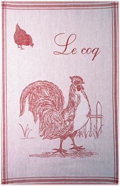 Coucke Le Coq (Rooster) French Kitchen Towel - Big Design