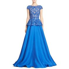 Naeem Khan Cap Sleeve Embroidered Gazar Peplum Gown (26.270 BRL) ❤ liked on Polyvore featuring dresses, gowns, special occasion dresses, blue cocktail dress, evening cocktail dresses, blue gown and peplum evening dress