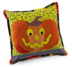 Combine wool and cotton into a cute pumpkin pillow that's perfect for dressing up your home for fall. Halloween Pillows, Halloween Quilts, Fall Halloween, Halloween Ideas, Halloween Decorations, Halloween Stuff, Halloween Costumes, Happy Pumpkin, Cute Pumpkin