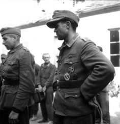 A decorated combat veteran captured in France. He has won both the Iron Cross 1st and 2nd Class for bravery, the silver infantry assault badge and the black wound badge denoting between 1-3 wounds. Above his pocket a ribbon for service on the Eastern Front. He is lucky to have been captured in France. Most Germans captured on the Russian Front would never see Germany again. Those who did returned home in 1953-55.