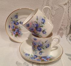 Vintage ROYAL GRAFTON Fine Bone China DEMI Tea Cup & Saucer - set of 2    White with floral design(Blue Bells) on the saucer and outside the cup.