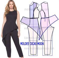 Sewing Blouse macacão com peplum - Fashion Sewing, Diy Fashion, Fashion Outfits, Moda Fashion, Jumpsuit Pattern, Pants Pattern, Dress Sewing Patterns, Clothing Patterns, Costura Fashion