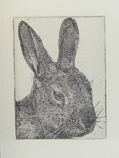 Original Etching of a rabbit headhand pulled by Fleurografie, $10.00