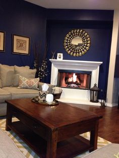 Navy Blue Walls, gold accents and a super white fireplace. My redecorated living room. Living Room Color Schemes, Living Room Colors, Living Room Sofa, Living Room Decor, Brown And Gold Living Room, Navy Blue Living Room, Blue Accent Walls, Navy Blue Walls, Navy Blue Rooms