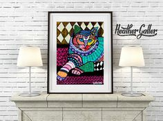 40% Off- DIGITAL Print File - CAT Art Poster Print of Painting by Heather Galler (Hg262)