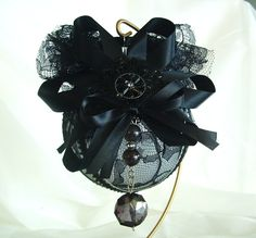 Christmas Ornament Victorian Gothic Goth Holiday Tree Decoration large glass ornaments black lace. $25.00, via Etsy.